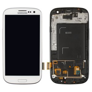 LCD for Samsung I9300 Galaxy S3 Cell Phone, (white, with touchscreen, with front panel, original (change glass) )