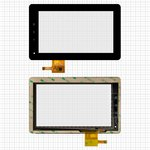 "Сенсорный экран для планшетов China-Tablet PC 7""; GoClever Tab A73; Flytouch C08S; Bmorn V11; Benton BT-M740; Benss B7; Fly IQ310; Texet TM-7025, 7"", 190 мм, 116 мм, 12 pin, емкостный, черный, #PINGBO PB70DR8065_01"