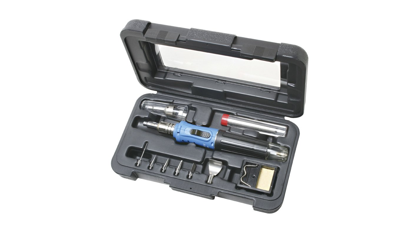 Professional Soldering Iron Kit Gas Butane Auto Ignition Torch With Plastic Case